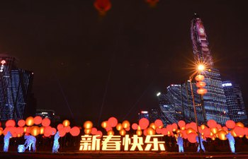 Lanterns illuminated to greet Spring Festival in Shenzhen