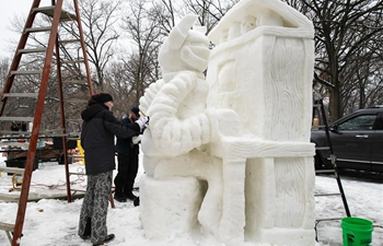 People take part in Illinois Snow Sculpting Competition