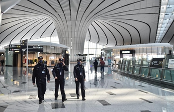 Policemen patrol at Daxing International Airport in battle against coronavirus