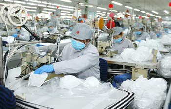 Workers make face masks in Qingdao