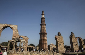 View of Qutub Minar, UNESCO World Heritage site in New Delhi