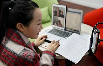 Students in Shanghai attend trial online class