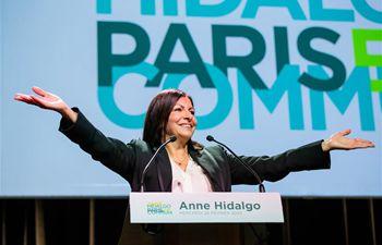 Paris Mayor Anne Hidalgo delivers speech during campaign meeting in Paris, France