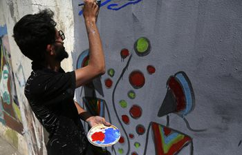 Graffiti drawing campaign calling for peace held in Sanaa, Yemen