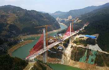Construction of Qingshui River extra large bridge resumes in SW China's Guizhou