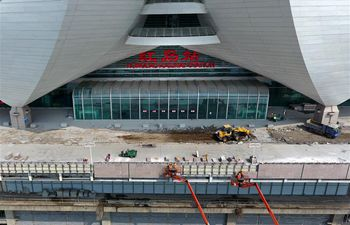 Hongdao Railway Station under construction in Qingdao