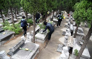 Cemetery staff help people clean tombs, offer flowers to deceased family member as Tomb-sweeping Day approaches
