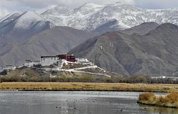 View of Lhalu wetland in Lhasa, Tibet