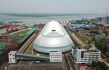 Capsule-shaped bulk cargo warehouse officially put into use in Yueyang, C China