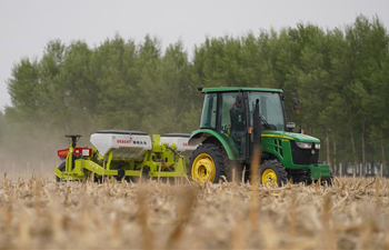 No-till planter used to seed corns in fields in NE China