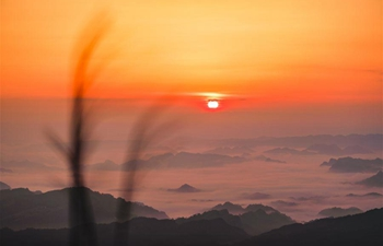 Morning scenery of Tianlong Mountain in SW China