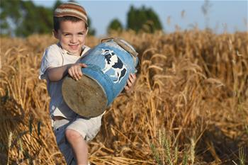 Israeli children play in wheat field ahead of Jewish holiday of Shavuot
