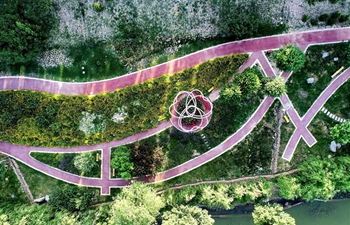 Scenery of eco-park project along Laozhang River in Hebei