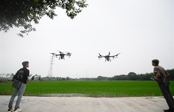 Unmanned aerial vehicles used to conduct fertilization work in Zhejiang