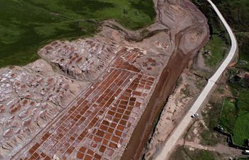 Aerial view of salt pans in Yushu, NW China's Qinghai