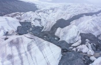 Aerial view of glacier at source area of Yangtze River