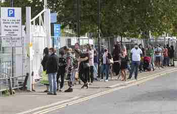 People queue for COVID-19 test in London
