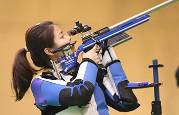 Zhang Jiaqi attends women's 50m rifle 3 positions final match