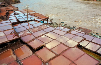 Aerial view of colourful salt pans in SW China's Tibet