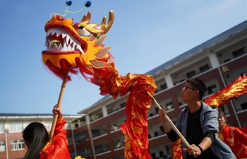 Chinese traditional lion dance taught at primary school in Jiangxi