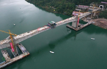 Pengxi River multi-track railway bridge under construction in Chongqing