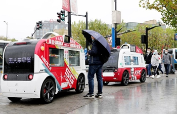 Unmanned catering cars sell food to people in Shanghai