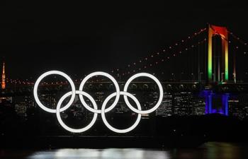 Giant Olympic rings return to Tokyo Bay