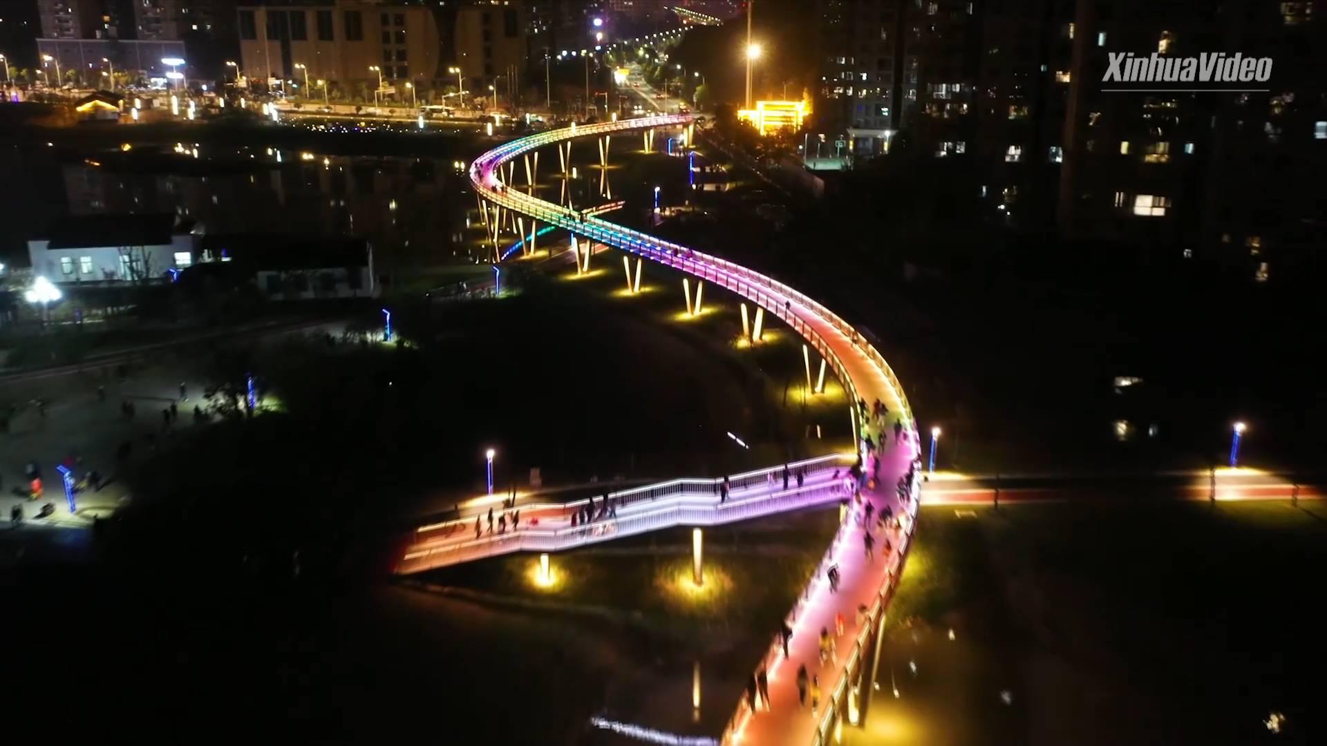 """Aerial view of stunning 500-meter """"rainbow bridge"""" in Hubei, China"""