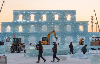 Workers work at construction site of Harbin Ice-Snow World