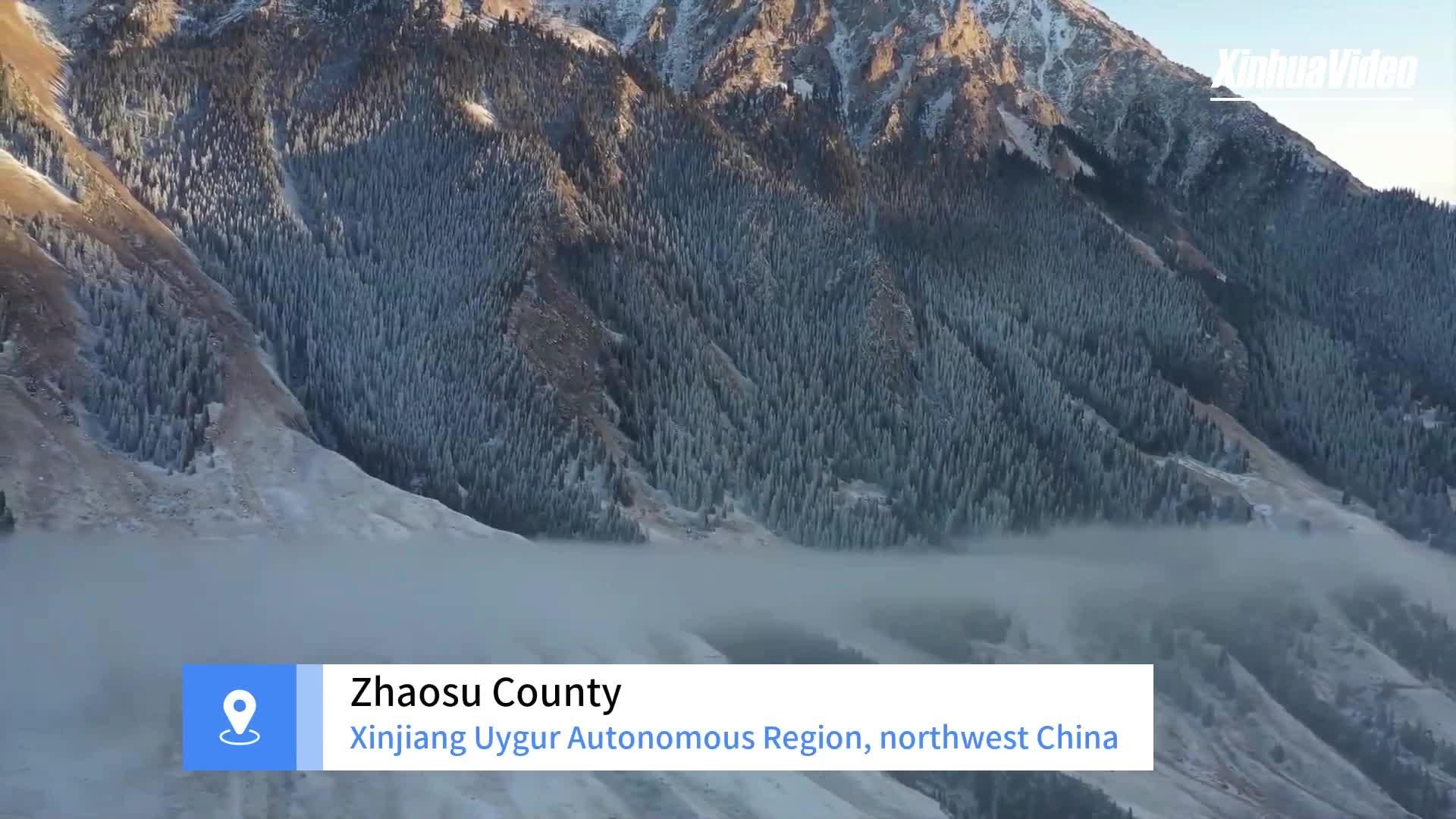 Winter scenery of Akyaz Valley in Xinjiang