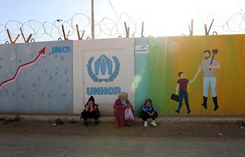 Syrian refugees seen at refugee camp in Zaatari, Jordan