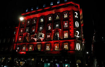 Building decorated in style of Advent calendar in London