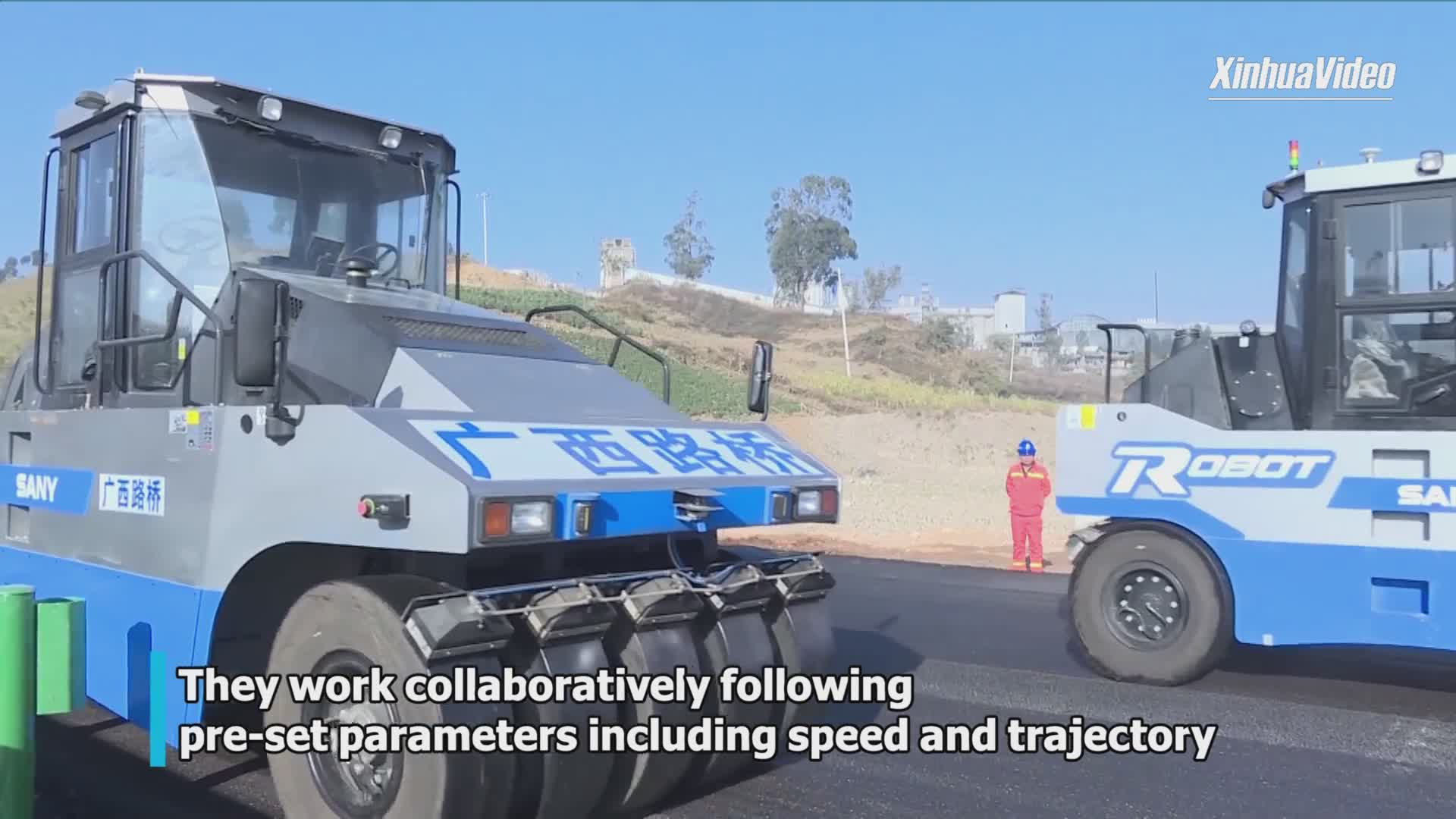 Autonomous pavers, rollers help build expressway in Yunnan, China