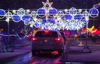 Christmas-themed light show seen at Santa's Drive-Thru Village in Toronto