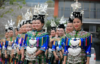 Dong ethnic group chorus competition held in Congjiang County, SW China