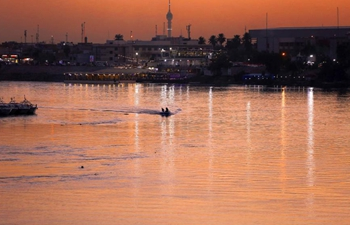 View of Tigris River at sunset in Iraq