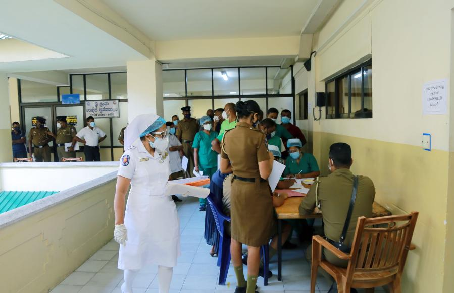 Frontline workers receive COVID-19 vaccination in Colombo, Sri Lanka