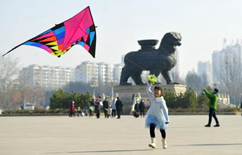 Citizens fly kites at park in N China