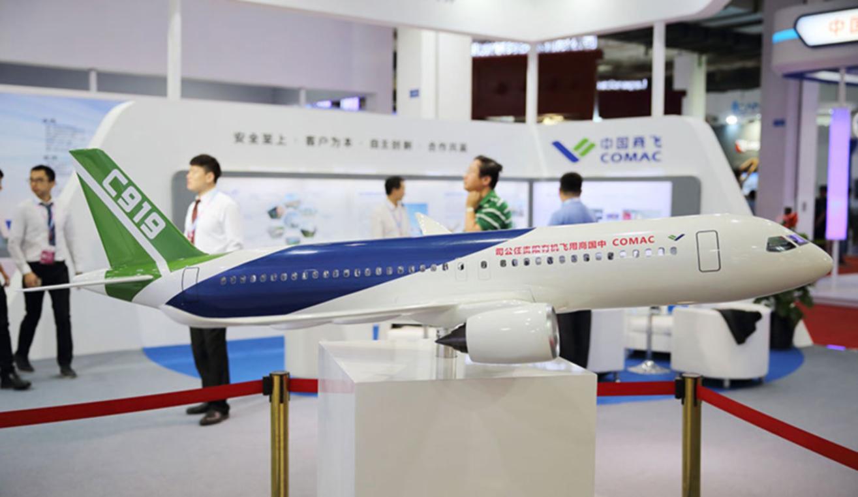 C919大型客機模型亮相2017北京科博會