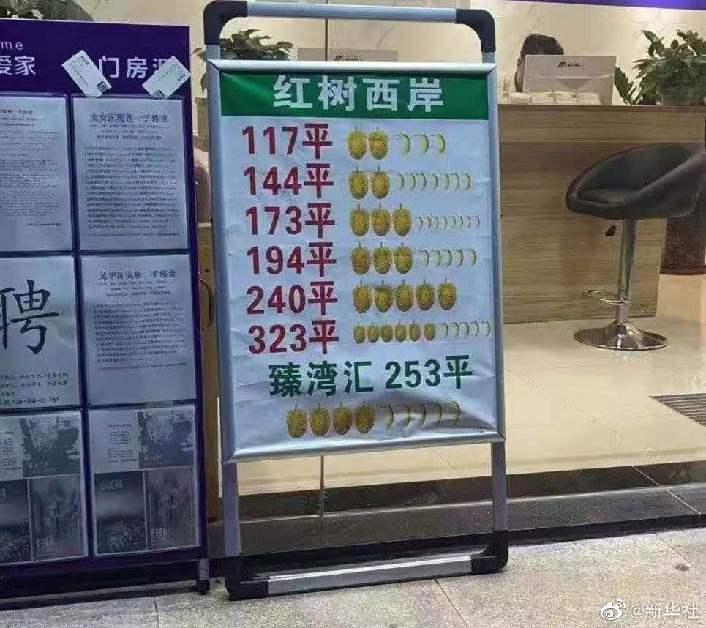 深圳查处房地产水果图案挂牌价:一个榴莲一千万一个香蕉一百万