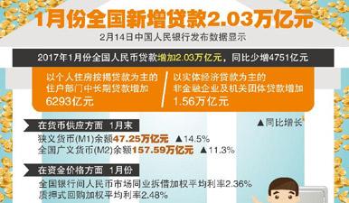 图表:1月份全国新增贷款2.03万亿元