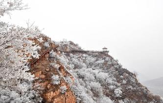 河南魯山阿婆寨景區現霧凇景觀