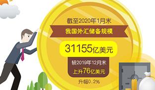 1月份我國外匯儲備規模增加76億美元至31155億美元