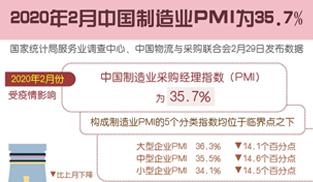 2月中國制造業PMI為35.7%
