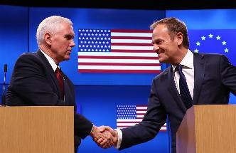 美國副總統彭斯到訪布魯塞爾