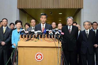 梁振英:支持全國人大常委會關于香港普選問題的決定