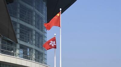 特写:五星红旗在香港高高飘扬