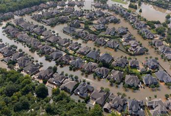 航拍美國得州颶風災區