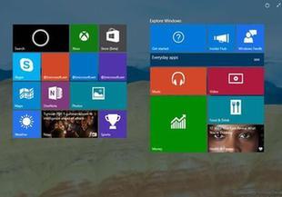 Windows 10新增透明開始菜單 磁貼浮在桌面上