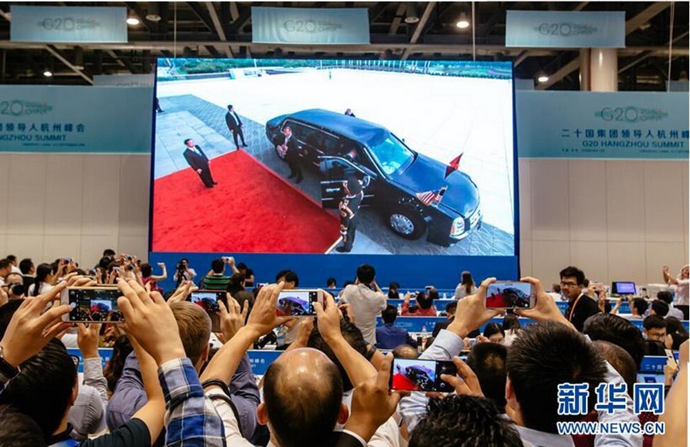二十國集團領導人杭州峰會開幕的直播畫面。新華社記者張鋮攝